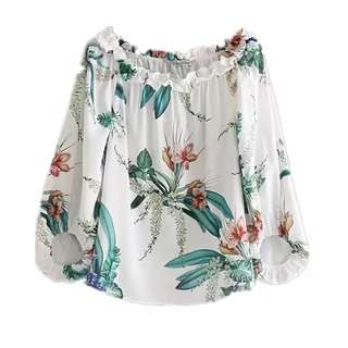European and American flowers and plants flowers printed lotus leaf collar cuff shirt