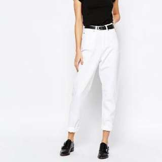White high waisted mom jeans