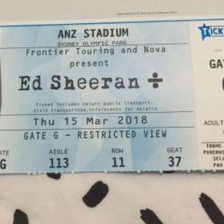 1 x Ed Sheeran Syd Mar 15 (Negotiable)