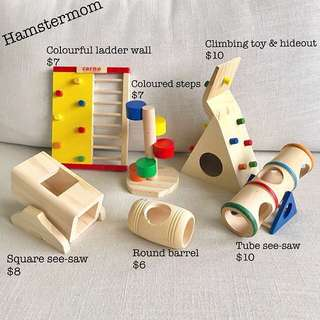 Assorted Dwarf Hamster Wooden Playground Toy & Hideout House