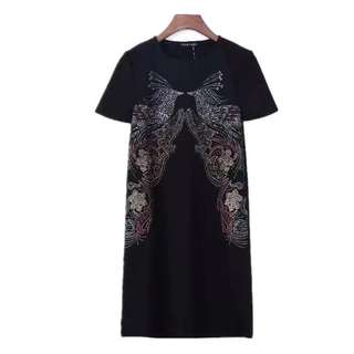 European and American style package hip rhinestones bottomed out in the long sleeve half-sleeved Phoenix printed dress