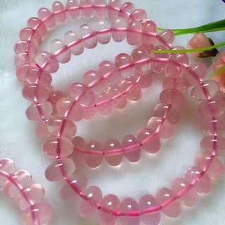 天然粉晶盘珠单圈手链