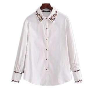 women's spring new retro Hong Kong chic embroidery corduroy shirt
