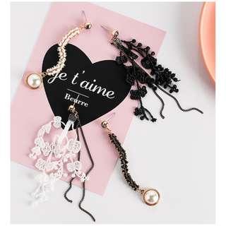 Asymmetrical Lace Beads Crystal Pearl Long Earrings - Black/White