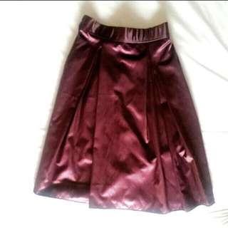 Red Wine Satin Midi Skirt