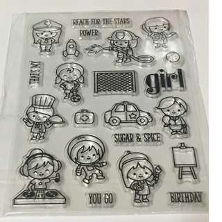 Girl power clear stamp