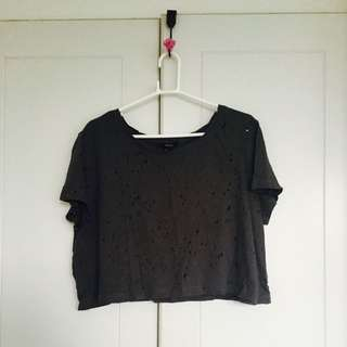 Forever 21 Charcoal Croptop with holes