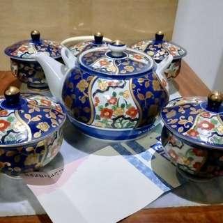 有田燒祥樂作瓷壺蓋杯茶具一套