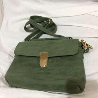 SM WOMAN Green Suede Bag