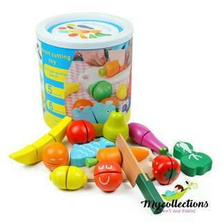 Wooden Bucket Cutting Fruits and Vegetables Pretend Playset