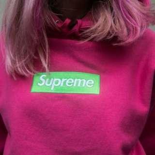 (📣限今日) Supreme Box Logo Hooded Sweatshirt 17# Magenta