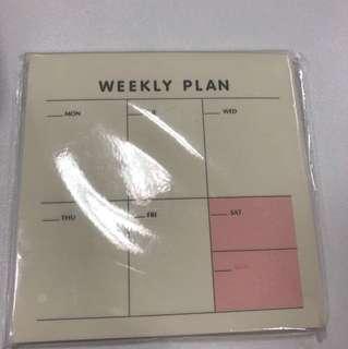 Weekly note pad