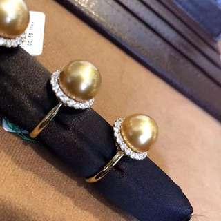 18K金鑽石💎53分茶金南洋珍珠戒指 golden pearl ring with 0.53ct diamonds