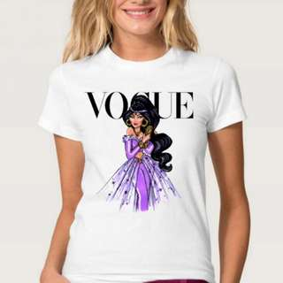 disney princess vogue inspired white tee top shirt | PO