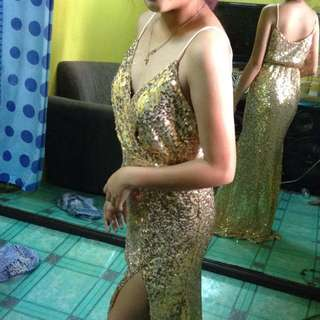 gold gown w/slit for rent