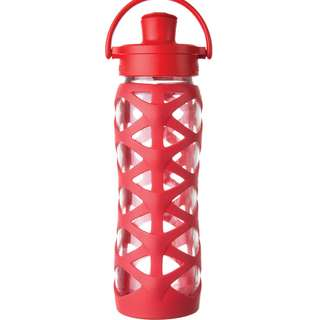 LifeFactory 22 oz Glass Water Bottle Active Flip Cap - Charged red