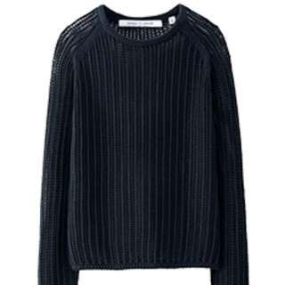 UNIQLO AND LEMAIRE WOMEN LEMAIRE Supima Cotton Mesh Crew Neck L/S Sweater