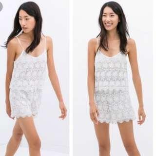 Zara white lace romper