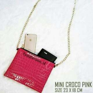 Slingbag Mini Croco Pink