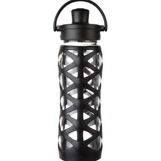 LifeFactory 22 oz Glass Water Bottle Active Flip Cap - Onyx