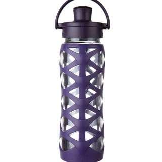 LifeFactory 22 oz Glass Water Bottle Active Flip Cap - Aubergine