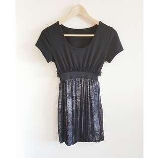 LBD Babydoll Dolly Lace Layer Trim Dress in Black, Sz XS, Pre-loved
