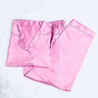 Baby pink satin long pants