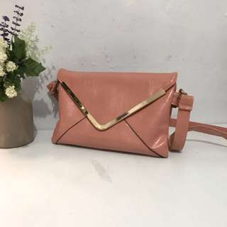 Clutch or Sling bag pink peach envelope