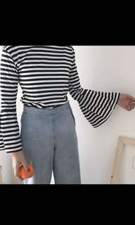 👚ulzzang striped trumpet sleeve top👚