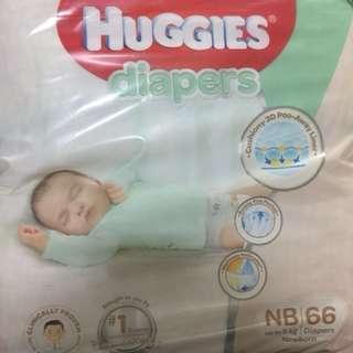 4x Packs of Platinum Huggies Diapers NB up to 5kg 66 Diapers