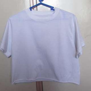 Plain White Shirt Crop Top