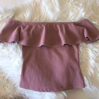 Off Shoulder Ruffle Top In Mauve/Pink