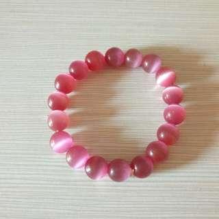 粉紅仿水晶手鍊