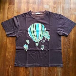 Ocean Pacific brown short-sleeved tee with embossed hot air balloon design