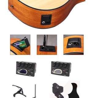 41 inch solid top guitar with pick up mic blend