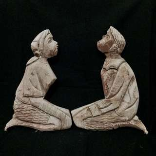 Man and Woman antique wood carving