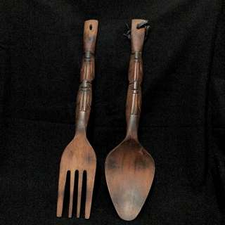 Large wooden spoon and fork