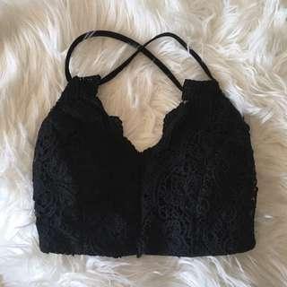 Black Lace Bralette Crop