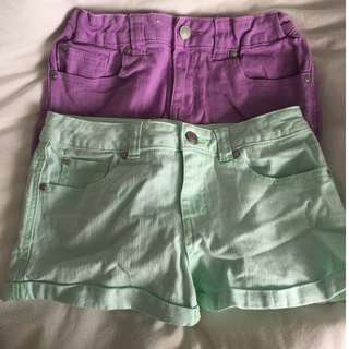 Colorful denim shorts! new condition