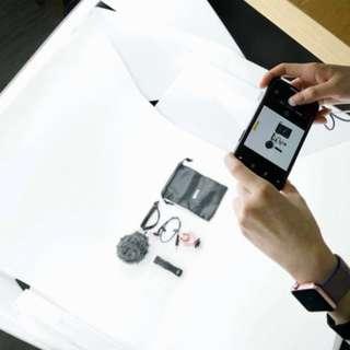 [2折出售:產品攝影、商品拍攝用]攝影箱 補光燈 白光燈 白光盒 連3枝白燈