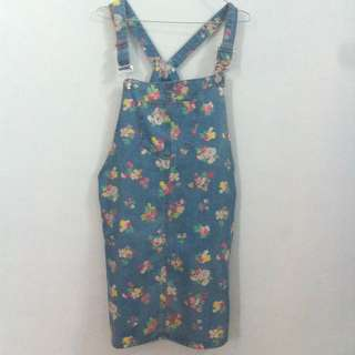 overall floral / rok overall motif bunga