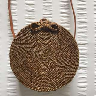 Round Rattan Wicker Bag Natural