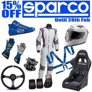 Sparco 15% OFF till 28th Of February steering wheels, bucket seats, Racing Gears