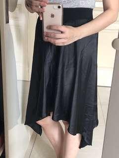 Waterfall satin skirt
