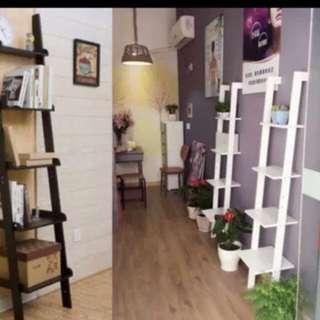 INSTOCK black whole Creative ladder bookshelf