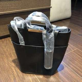 Zara Leather Tassel Bucket Bag