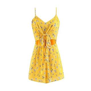 Honey Floral Bow Tie Playsuit