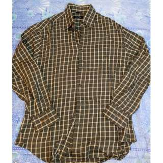 NAUTICA Men's Olive Green Plaid Collared Shirt