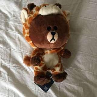 Line friends brown giraffe plush doll