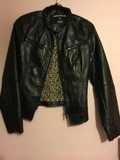 Black leather jacket with cheetah print